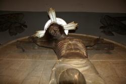 Imatge actual del Sant Crist de Piera, idèntica a la cremada el 1936. Dissenyada pels germans Oslé Sáenz de Medrano i cisellada pel bedorquí Josep Soteras Marsal (2015)