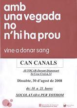 Cartell de l'acapte de sang a Can Canals