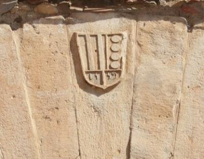 Escut heràldic del monestir de Pedralbes incorporat durant el segle XVI (2015)