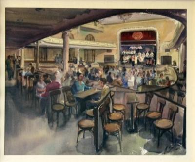Quadre pintat per Sanchís en què s'il·lustra una de les gales amb orquestra i ball (1970)