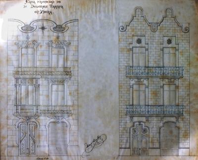 Plànols que il·lustren les dues propostes per a la façana que l'arqui- tecte Sahís Roig va presentar a Dolors Tarafa (1905)
