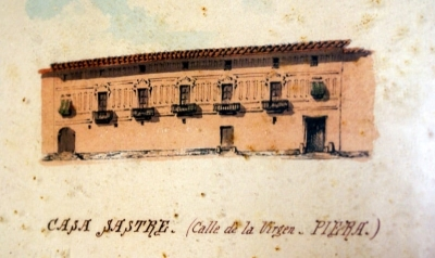Dibuix de la façana amb els primers esgrafiats de la casa (1880)