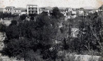 Darreres de les cases del carrer de Sant Bonifaci, on els Freixedas tenien una glorieta al capdavall dels horts (1910)