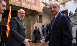 Acte suport alcaldes 9-N al Palau de la Generalitat